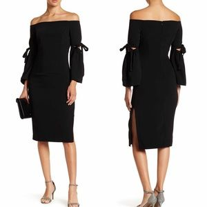 Do Be Dress Black LBD Off Shoulder Midi Tie NWT